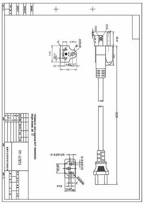America Ul Power Cords Yy 3 To St3 Iec 60320 C13